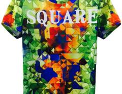 3D Unisex Colorful SQUARE Print Short Sleeve T-shirt Choies.com online fashion store United Kingdom Europe