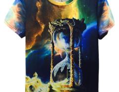 3D Unisex Galaxy Hourglass Print Short Sleeve T-shirt Choies.com online fashion store United Kingdom Europe