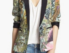 Animal Print Pintuck Blazer Choies.com online fashion store United Kingdom Europe