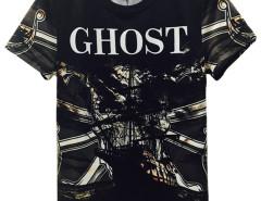 Black 3D Unisex GHOST Pirate Ship Print T-shirt Choies.com online fashion store United Kingdom Europe