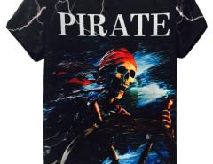 Black 3D Unisex Lightning And Skull PIRATE Print T-shirt Choies.com online fashion store United Kingdom Europe