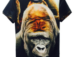 Black 3D Unisex Planet And Smoking Gorilla Print T-shirt Choies.com online fashion store United Kingdom Europe
