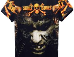 Black 3D Unisex SKULL BONES And Man Print T-shirt Choies.com online fashion store United Kingdom Europe