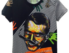 Black 3D Unisex Stripe Letter And Man Face T-shirt with Colorful Hand Print Choies.com online fashion store United Kingdom Europe