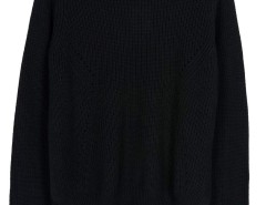 Black Asymmetric Hem Long Sleeve Knitted Sweater Choies.com online fashion store United Kingdom Europe