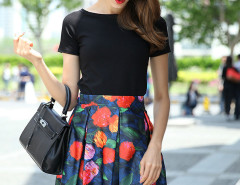 Black Basic T-shirt And Blue Floral Bow Tie Back Pleats Skirt Choies.com online fashion store United Kingdom Europe
