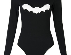 Black Bat Print Long Sleeve Bodysuit Choies.com online fashion store United Kingdom Europe