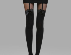 Black Bowknot Over the Knee Tights Choies.com online fashion store United Kingdom Europe
