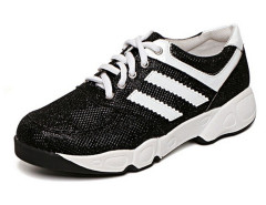 Black Contrast Stripe Print Lace Up Flatform Sneakers Choies.com online fashion store United Kingdom Europe