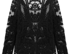 Black Crochet Lace Mesh Long Sleeve Blouse Choies.com online fashion store United Kingdom Europe