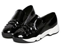 Black Cross Strap Slip-on Flatform Sneakers Choies.com online fashion store United Kingdom Europe