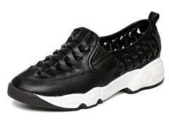 Black Cut Out Cross Strap Slip-on Flatform Sneakers Choies.com online fashion store United Kingdom Europe