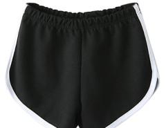 Black Elastic Waist Contrast Trim Sport Shorts Choies.com online fashion store United Kingdom Europe