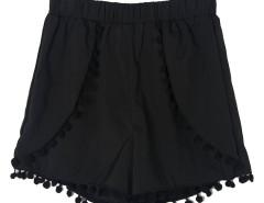 Black Elastic Waist Pom Pom Shorts Choies.com online fashion store United Kingdom Europe