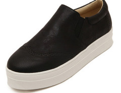 Black Embossed Cut Out Round Toe Plimsolls Choies.com online fashion store United Kingdom Europe