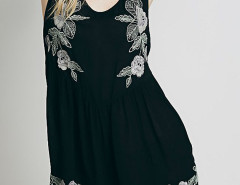 Black Embroidery Open Back Sleeveless Romper Playsuit Choies.com online fashion store United Kingdom Europe