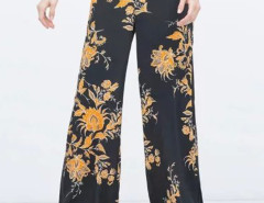 Black Floral High Waist Palazzo Flare Pants Choies.com online fashion store United Kingdom Europe