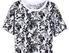 Black Floral Leaves Print Short Sleeve Crop Tee Choies.com online fashion store United Kingdom Europe
