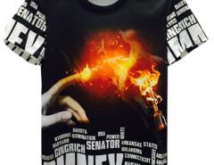 Black Hand Fire Bulb And Letter Print Short Sleeve T-shirt Choies.com online fashion store United Kingdom Europe