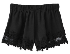 Black Hook Flower Lace Hem Shorts Choies.com online fashion store United Kingdom Europe