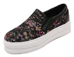 Black Lace Paneled Floral Platform Plimsolls Choies.com online fashion store United Kingdom Europe