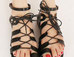 Black Lace-up PU Flat Gladiator Sandals Choies.com online fashion store United Kingdom Europe