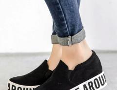 Black Letter Print Flatform Plimsolls Choies.com online fashion store United Kingdom Europe