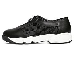 Black Mesh Panel Zipper Upper Slip-on Flatform Sneakers Choies.com online fashion store United Kingdom Europe