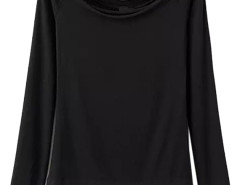Black Off Shoulder Tight Long Sleeve T-shirt Choies.com online fashion store United Kingdom Europe