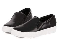 Black PU Slip-on Loafers Choies.com online fashion store United Kingdom Europe