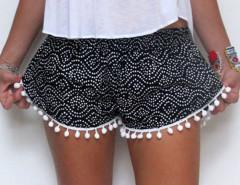 Black Paisley Print Elastic Waist Pom Pom Shorts Choies.com online fashion store United Kingdom Europe