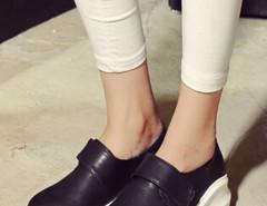 Black Rounded Toe Flatform Slip On Sneakers Choies.com online fashion store United Kingdom Europe