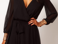 Black Sequined Cuff Tie Waist Two-layer Wrap Dress Choies.com online fashion store United Kingdom Europe