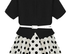 Black Slit Front T-shirt And Polka Dot Tie Waist Skater Skirt Choies.com online fashion store United Kingdom Europe