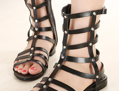 Black Strappy Studs Flat Gladiator Sandals Choies.com online fashion store United Kingdom Europe