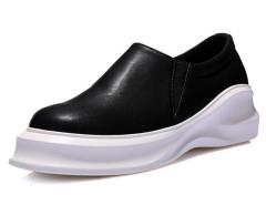 Black Stretch Insert Chunky Flatform Slip On Sneakers Choies.com online fashion store United Kingdom Europe