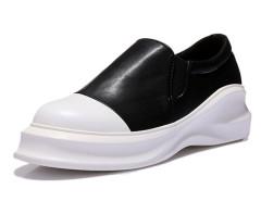 Black Stretch Insert Contrast Toe Cap Flatform Slip On Sneakers Choies.com online fashion store United Kingdom Europe
