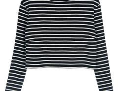 Black Stripe Long Sleeves Crop Top Choies.com online fashion store United Kingdom Europe