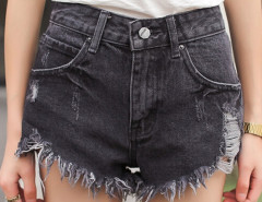 Black Wash High Waist Ripped Distressed Denim Shorts Choies.com online fashion store United Kingdom Europe