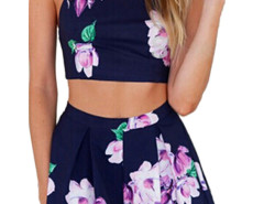 Blue Back Strap Cross Floral Print Crop Top With High Waist Shorts Choies.com online fashion store United Kingdom Europe