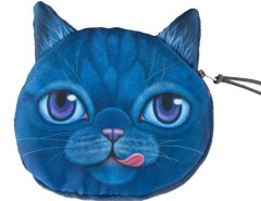 Blue Big Eye Tongue Chartreux Cat Coin Purse Choies.com online fashion store United Kingdom Europe
