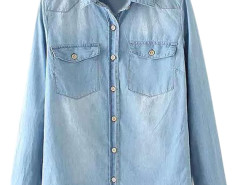Blue Chest Pocket Washed Shirt with Long Sleeve Choies.com online fashion store United Kingdom Europe