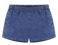 Blue Elastic Waist Denim Hot Shorts Choies.com online fashion store United Kingdom Europe