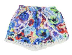 Blue Floral Elastic Waist Pom Pom Shorts Choies.com online fashion store United Kingdom Europe