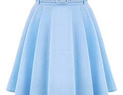Blue High Waist Silky Skater Skirt With Belt Choies.com online fashion store United Kingdom Europe
