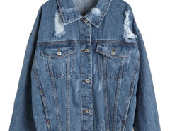 Blue Loose Distressed Denim Jacket Choies.com online fashion store United Kingdom Europe
