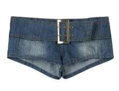 Blue Low Waist Buckle Belt Embellished Hot Shorts Choies.com online fashion store United Kingdom Europe