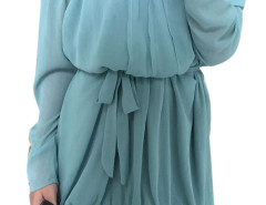 Blue Off Shoulder Panel Flounce Hem Ruched Dress Choies.com online fashion store United Kingdom Europe