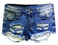 Blue Ripped Five Pocket Laec Hem Denim Hot Shorts Choies.com online fashion store United Kingdom Europe