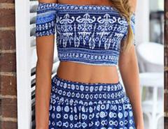 Blue Tile Print Off Shoulder Crop Top With Elastic Waist Shorts Choies.com online fashion store United Kingdom Europe